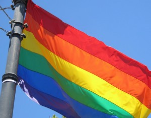 A rainbow flag flying in support of LGBT laws