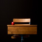 A teacher's desk with an apple