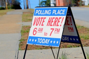 Polling place sign at voting booth