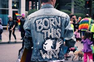 LGBTQ individual at a gay pride parade